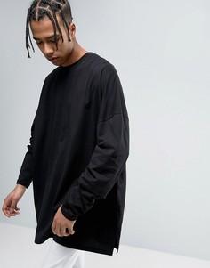 Черная оversize-футболка с супердлинными рукавами ASOS - Черный