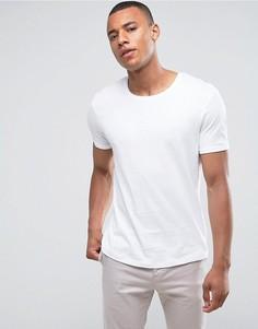 Длинная футболка с закатанными рукавами Esprit - Белый
