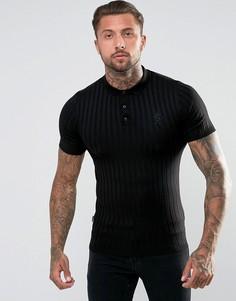 Черная обтягивающая футболка-поло в рубчик Gym King - Черный