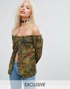 Фестивальная рубашка с открытыми плечами и камуфляжным принтом Milk It Vintage - Зеленый