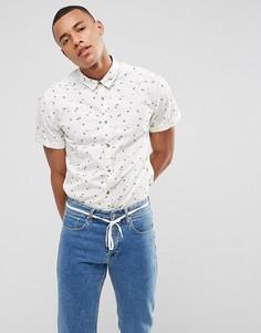 Приталенная рубашка с короткими рукавами и мелким цветочным принтом Esprit - Белый