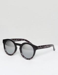 Круглые солнцезащитные очки в черно-серой оправе AJ Morgan - Черный