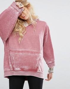 Свободный худи с рваной отделкой Free People Get It - Розовый