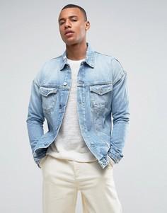 Свободная джинсовая куртка с рваной отделкой Jack & Jones Intelligence - Синий