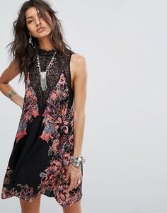 Платье-комбинация с принтом Free People - Мульти