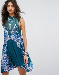 Платье-комбинация с принтом Free People - Зеленый