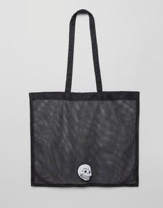 Сетчатая сумка-шоппер с черепом Cheap Monday - Черный