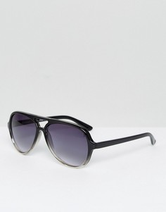 Солнцезащитные очки-авиаторы в черной оправе AJ Morgan - Черный