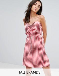 Платье в клетку с завязкой спереди New Look Tall - Красный