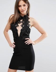 Кружевное платье мини с высоким воротом и декольте Rare London - Черный