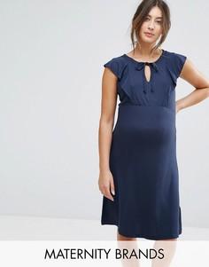 Трикотажное платье с оборкой Mamalicious - Темно-синий Mama.Licious