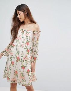 Платье с открытыми плечами и цветочным принтом Vero Moda - Мульти