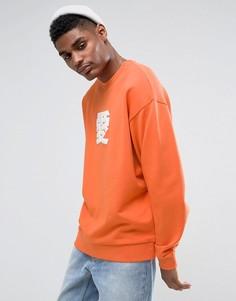 Оранжевый свободный свитшот с китайским принтом ASOS - Оранжевый