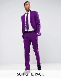 Фиолетовый облегающий костюм и галстук OppoSuits PROM - Фиолетовый