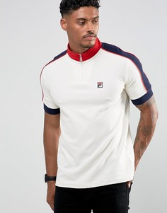 Белая футболка-поло с молнией Fila Vintage - Белый