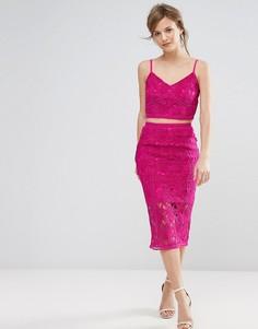 Кружевная юбка миди New Look - Розовый