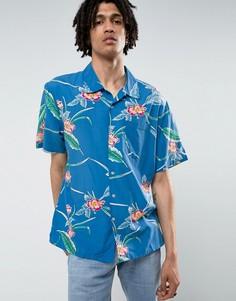 Свободная рубашка с цветочным принтом Brixton - Синий
