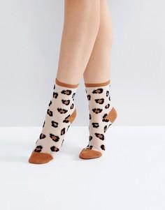 Полупрозрачные носки с леопардовым принтом Monki - Мульти