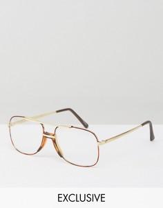 Коричневые очки-авиаторы с прозрачными стеклами Reclaimed Vintage - Коричневый