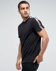 Черная футболка с розовой контрастной отделкой New Look - Черный