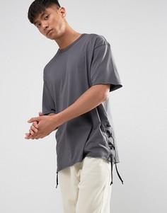 Серая футболка со шнуровкой по бокам New Look - Серый