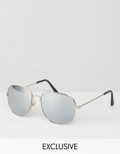 Золотистые солнцезащитные очки-авиаторы с серебристыми стеклами Reclaimed Vintage - Золотой