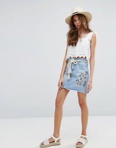 Юбка в винтажном стиле с вышивкой и заклепками New Look - Синий