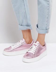 Кроссовки с эффектом металлик Free People - Розовый