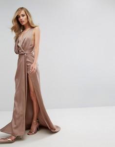 Платье макси с запахом Fame and Partners - Коричневый