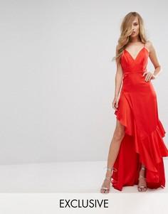 Матовое атласное платье с оборкой Fame and Partners - Красный