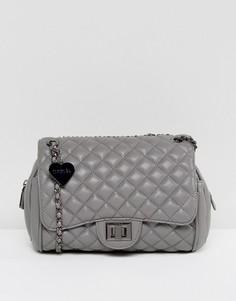 Серая стеганая сумка на плечо Marc B Knightsbridge - Серый