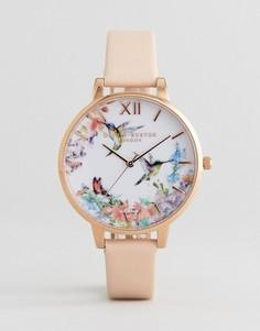 Часы с розовым кожаным ремешком и большим циферблатом Olivia Burton OB15PP12 - Розовый