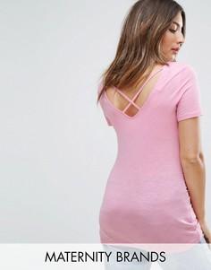 Футболка с перекрестными бретельками на спине New Look Maternity - Розовый