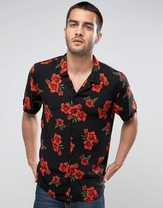 Рубашка классического кроя с цветочным принтом и лацканами на воротнике New Look - Красный