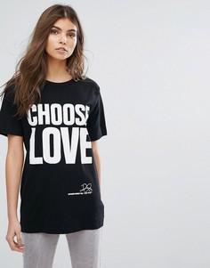 Черная футболка с принтом Choose Love Help Refugees - Черный