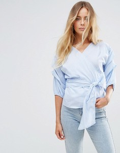 Блузка в полоску с запахом Miss Selfridge - Мульти