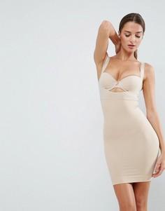 Платье-комбинация с открытым бюстом и средним утягивающим эффектом Spanx Shape My Day - Бежевый