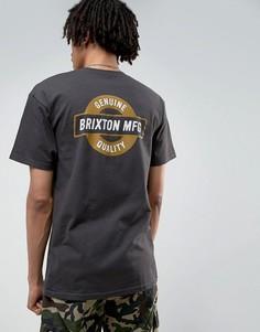 Футболка с принтом на спине Brixton Newell - Черный