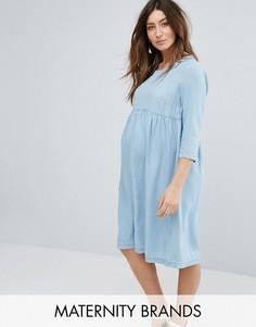 Приталенное платье из шамбре Mamalicious - Синий Mama.Licious