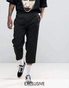 Свободные брюки в полоску Reclaimed Vintage Inspired - Черный