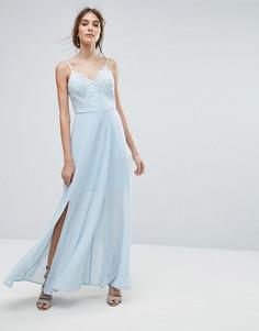 Кружевное платье макси на бретелях New Look - Синий