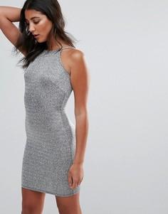 Облегающее платье с люрексом Oh My Love - Серебряный