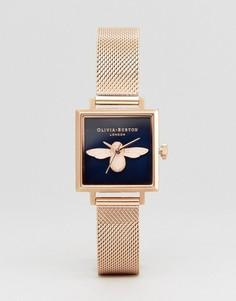 Часы цвета розового золота с пчелой на циферблате Olivia Burton OB16AM96 - Золотой