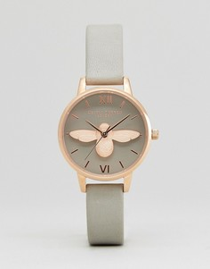 Часы с серым кожаным ремешком и объемной отделкой в виде пчелы Olivia Burton OB15AM - Серый
