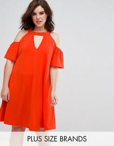 Свободное платье с вырезом капелькой и открытыми плечами Pink Clove - Оранжевый