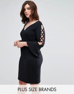 Платье-футляр с рукавами-клеш и отделкой крестиком Pink Clove - Черный
