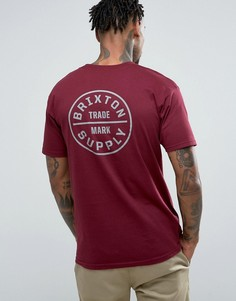 Бордовая футболка с принтом на спине Brixton Oath - Красный