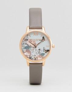 Часы с цветочным принтом и серым кожаным ремешком Olivia Burton OB16EG67 - Серый
