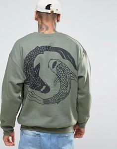 Свободный свитер с рыбами на спине HNR LDN - Зеленый Honour