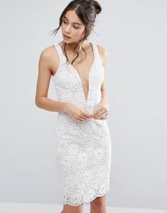 Кружевное платье с глубоким вырезом Love Triangle - Белый